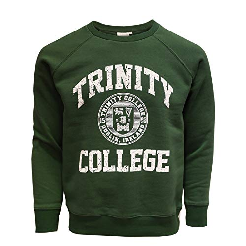 Bottle Green and White Trinity College Dublin Ireland Seal Sweatshirt (Green, Small)