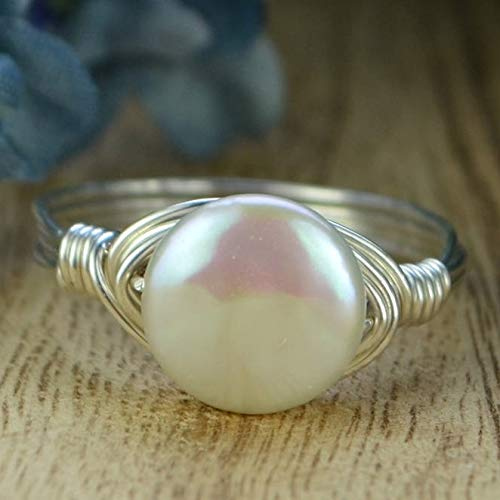 Small Coin Pearl Sterling Silver or Gold Filled Wire Wrapped Ring- Custom Made to Size 4-14