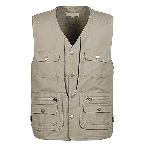 Jade Hare Men's Summer Casual Outdoor Work Multi-Function Pockets Fishing Photo Journalist Cotton Vest (Khaki, Small)