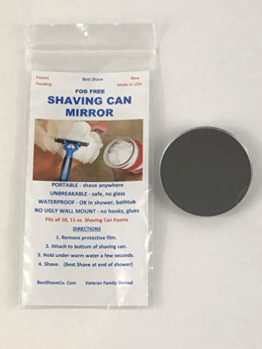 Shaving Can Mirror Shower Fog Free Portable Made in USA by Veteran's - Shaving Mirrors Foam Bathroom