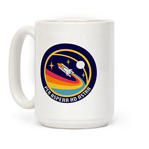 LookHUMAN Per Aspera Ad Astra Vintage Logo White 15 Ounce Ceramic Coffee Mug