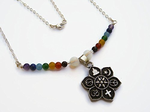 Amazon 18 7 chakra coexist lotus necklace 925 sterling 18quot 7 chakra coexist lotus necklace 925 sterling silver chain rainbow lotus aloadofball Images