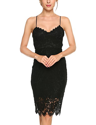 Beyove Women's Elegant Backless Lace Slip Party Dress,Black,S