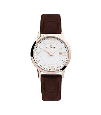 Kronos - Elegance Rose 974.34 -Reloj de caballero de cuarzo - correa de piel marrÓn - color esfera: blanca