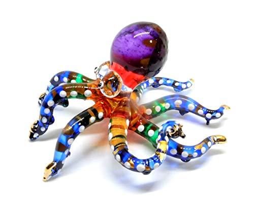 Handmade Swimming Octopus Art Glass Blown Sea Animal Figurine - No.3