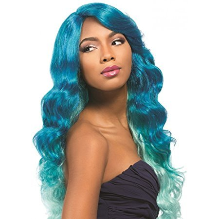 Sensationnel Synthetic Lace Front Wig Empress Edge Natural Curved Part Ashanti (CARIB/BLUE) (Instant Lace Front Wig)