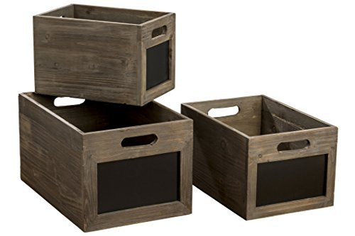 Easy Label Chalkboard Crates, Essential Home Organizers, Boxes, Set of 3, Sustainable Fir, Nesting Rectangles, 15, 12, and 10 3/4 Inches Long, Storage For Files, Toys, Clothes, Magazines,and More from WHW Whole House Worlds