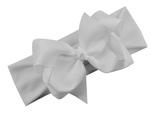 Grosgrain Bow Baby Headband By Funny Girl Designs Fits Newborn to 9 Months ( White)