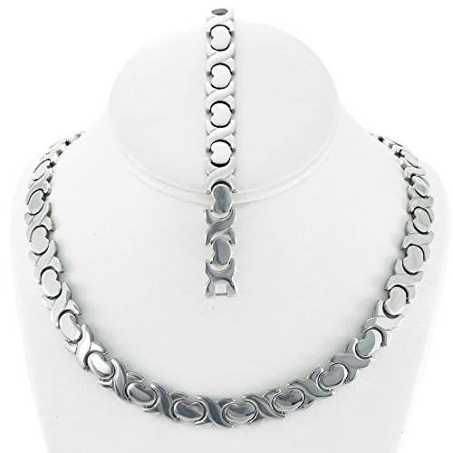 Hugs 18' (NEW 11mm Width Womens Silver Tone XOXO Stampato Necklace and Bracelet Set 18/20