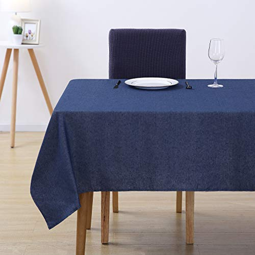 Deconovo Melange Spillproof Tablecloth Rectangle Wrinkle Free Decorative Stain Resistant Restaurant Dining Table Cover 60W x 84L Inch Navy Blue and White