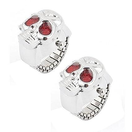 eDealMax El anillo de dedo de la cubierta del cráneo del Metal reloj de bolsillo Rojo