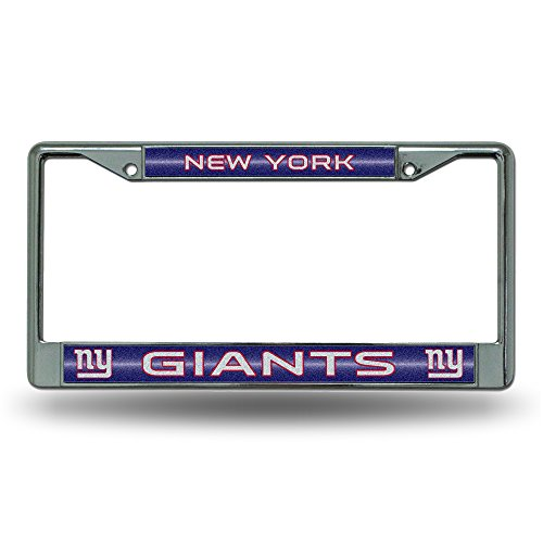 NFL New York Giants Bling Chrome License Plate Frame with Glitter Accent