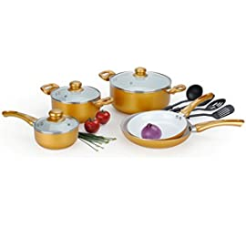 12 Pcs Gold Healthy Nonstick Ceramic Coated Cookware Set w/ Tempered Glass Lids and Easy Grip Stay Cool Handles