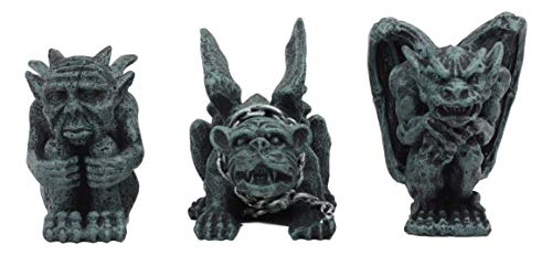 (Ebros Chained Gothic Stoic Gargoyles Chimera Castle Guardians Figurines Miniature 3