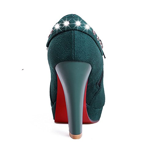 AmoonyFashion Womens Closed Round Toe High Heel Platform PU Frosted Solid Pumps with Zipper Green 7ZbTN