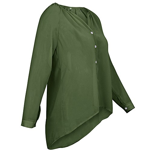 Long Collarless Gentle Autumn YunYou Luxury Women's Button Shirt And Long Loose Comfortable Makes Verde And Chiffon Sleeved Sleeved Ladies Shirt Casual Fashion Chiffon Hxqxdwt