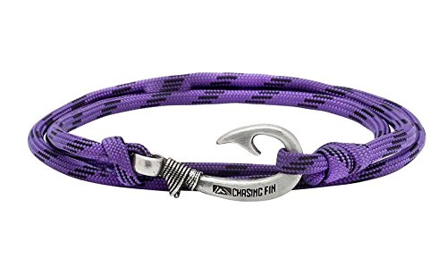 - Chasing Fin Adjustable Bracelet 550 Military Paracord with Fish Hook Pendant, Purple Camo