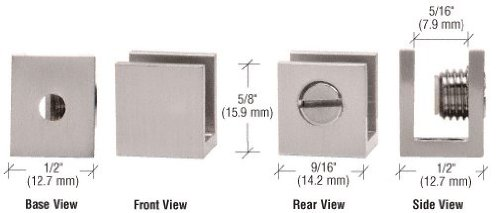 """CRL Brushed Nickel Set Screw Glass Shelf Clamp for 3/16"""" to"""