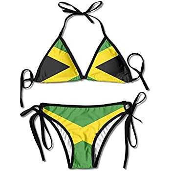 143f4d8d6 Women s Jamaica Majestic Flag Sexy Bikini Swimsuit Suit Set Triangle  Swimwear