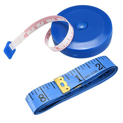 uxcell Cloth Tape Measure for Body 59 Inch Retractable Measuring Tape Soft Dual Sided for Tailor Sewing, 1.5 Meter, Pack of 1, Blue
