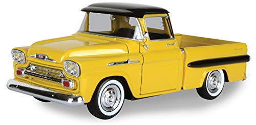 (1958 Chevrolet Apache Fleetside Pickup Truck Yellow with Black Top 1/24 Diecast Model Car by Motormax)