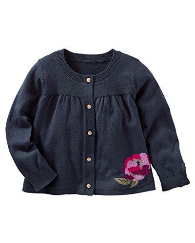 OshKosh B'gosh Baby Girl's Flower Cardigan, 6 Months, Navy