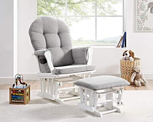 41FN1CV48ML - Windsor Glider And Ottoman, White With Gray Cushion