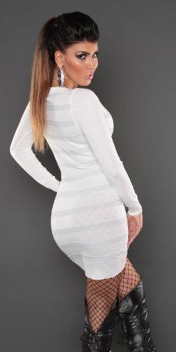 robe pull long laine blanc rayures manches longue koucla