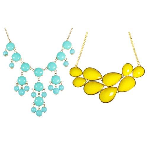 Wrapables Yellow Drop Shape Bubble Statement Necklaces + Sky Blue Mini Bubble Bib Statement Necklace (Blue Bubble Necklace Sky)