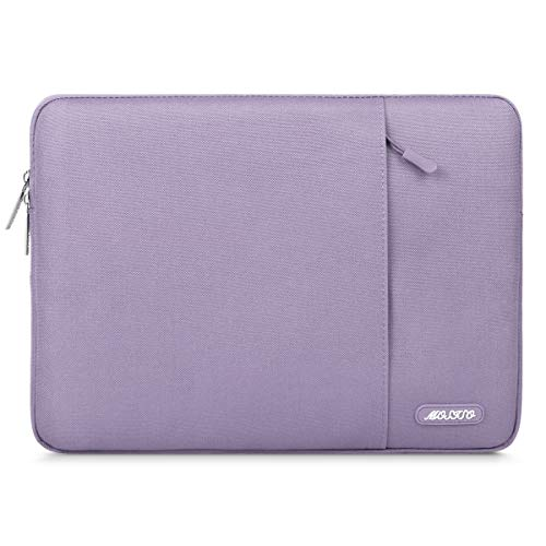 MOSISO Laptop Sleeve Bag Compatible with 13-13.3 Inch MacBook Pro, MacBook Air, Notebook Computer, Vertical Style Water Repellent Polyester Protective Case Cover with Pocket, Light Purple
