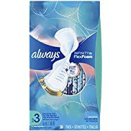 Always Infinity Feminine Pads for Women, Size 3, Extra Heavy Flow Absorbency, with Wings, Unscented, 28 Count - Pack of 3 (84 Count Total)