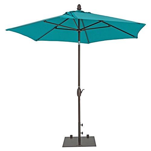 Patio Umbrella - TrueShade Plus Market Umbrella Garden Parasol with Push Button Tilt and Crank Includes Storage Cover - Freestanding or Table Hole. - 7' Diameter Aruba