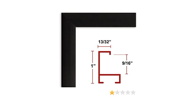 13 1/2 x 19 Satin Black Poster Frame - Profile: #93 Custom Size ...