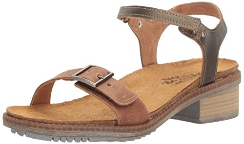 Naot Footwear Women's Boho, Latte Brown Leather/Pewter Leather, 40 (US Women's 9) M (Leather Footwear Pewter)