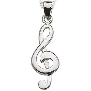 Alylosilver Collar Colgante Clave de Sol Musica de Plata para Mujer - Incluye una Cadena de Plata de 40 Centimetros y un Estuche para Regalo
