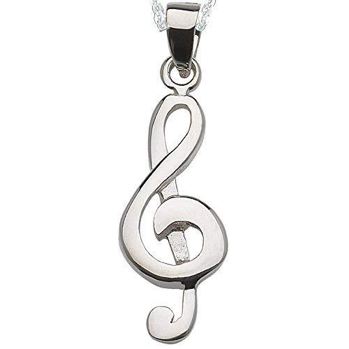 Alylosilver Collar Colgante Clave De Sol Musica De Plata Para Mujer