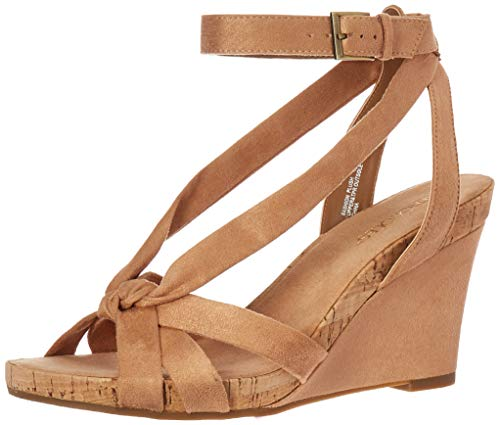 - Aerosoles - Women's Fashion Plush Wedge Sandal - Open Toe Strap Platform Heel Shoe with Memory Foam Footbed (6M - Tan Fabric)
