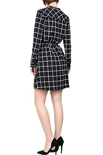 Manches Longues Femmes Bodilove Bouton Imprimé Longueur Genou Devant La Shirtdress À Carreaux Noir Blanc