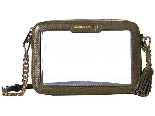 Michael Kors Medium Camera Crossbody Handbag in Olive Clear (Clear Michael Kors Handbags)