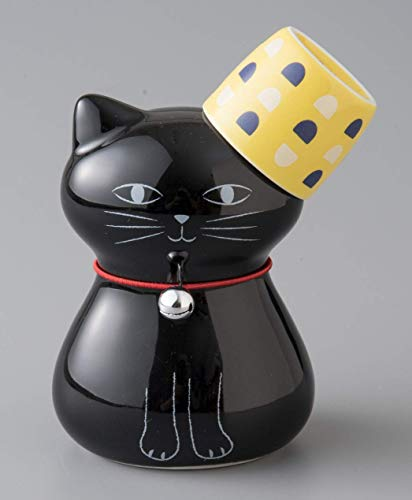 Okura Porcelain Cat Sake Set 1 Cup 40cc & 1 Cat-Shaped Decanter 270ml - Black Cat and Yellow Cup 200086