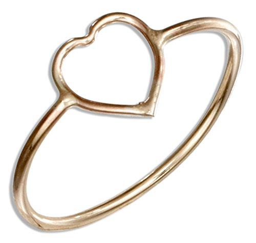Gold Open Heart Ring (12 Karat Gold Filled Open Heart Wire Ring (size 08))