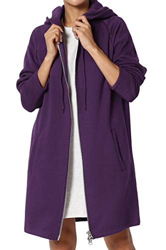 TheMogan Women's Hoodie Oversized Zip Up Long Fleece Sweat Jacket Dark Purple 1XL