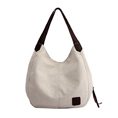 Cualquier Playa Bolsos Blanco Lona Bandolera Multifuncional Capacidad Casual Mano Mujeres La VáLida de Bag Para QUICKLYLY Gran Ocasión de EUnqgYwaFF
