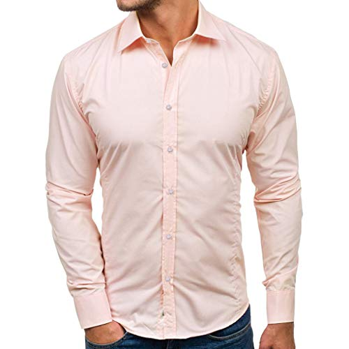 IAMUP Men Casual Solid T Shirts Design Buttons Mountain Outdoor Shirt Long Sleeve Jacket Use Top Workwear Blouse Pink