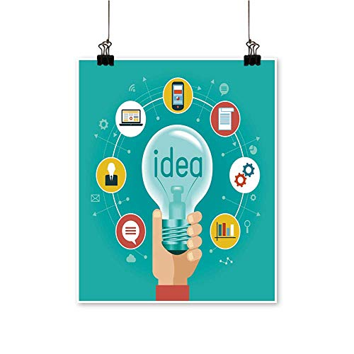 1 Piece Wall Art Painting templaate idea infographics a Light Bulb surrounde by Flat Icons Living Room Office Decoration,16