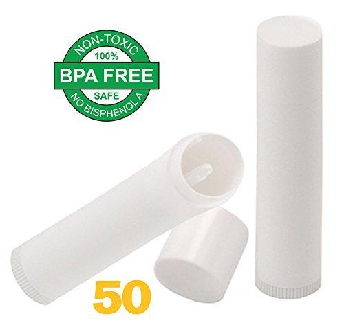Lip Balm Empty Tube Containers - Lip Balm Stick Tubes BPA Free (50 Tubes, White) for DIY Lip Balm Pouring Tray - Lip Balm Making Kit Filling