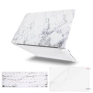 MOSISO MacBook Pro 13 Inch Case 2019 2018 2017 2016 A2159 A1989 A1706 A1708 w/ & w/o Touch Bar,Plastic Pattern Hard Case&Keyboard Cover&Screen Protector Compatible with Mac Pro 13,White Marble