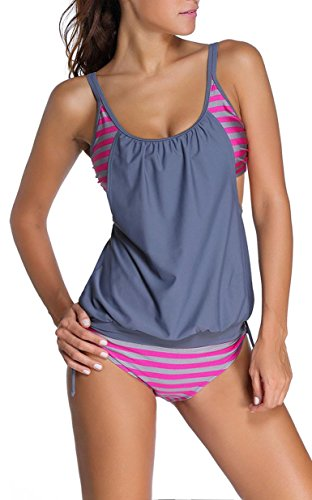 IF FEEL Womens Stripes Padded One-piece Monokini Triangle Tankini Swimwear