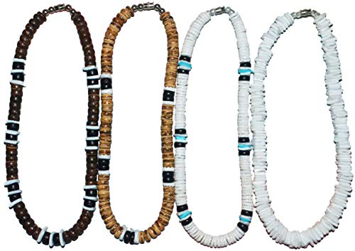 Native Treasure - 13 inch Little Kids Set of 4 Necklaces, White Rose Clam Puka Chip and Heishe Shells, Brown Black Wood Coco Beads, Durable Line, Authentic Tropical Jewelry, Surfer - Native Beads Wood Shell Fashion