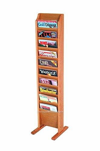 (DMD Wood Magazine Rack, Free Standing, 10 Pocket, Medium Oak Finish)